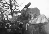 Randy Hanes and Sherman Tank in Germany