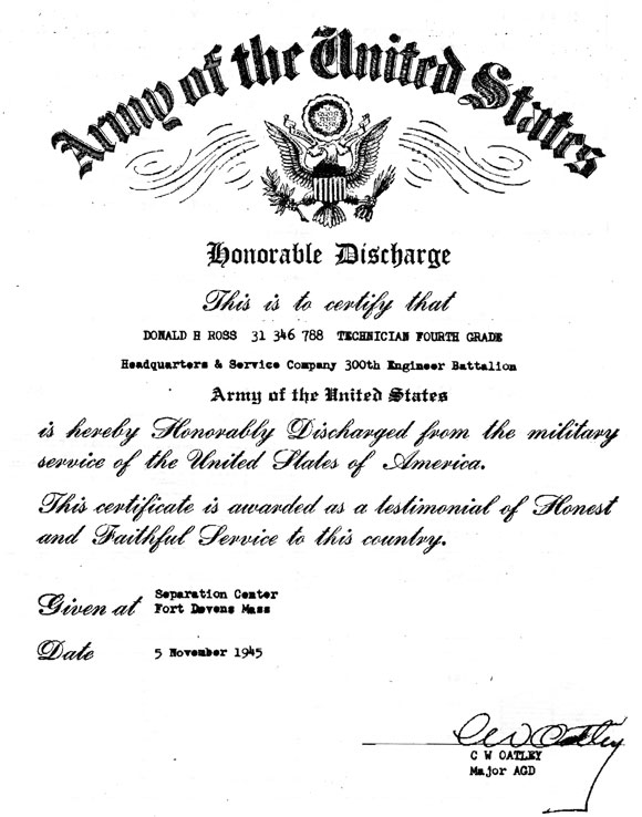 Donald Ross discharge papers