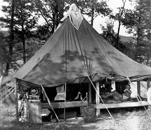 Typical tent living quarters for men of the 300th