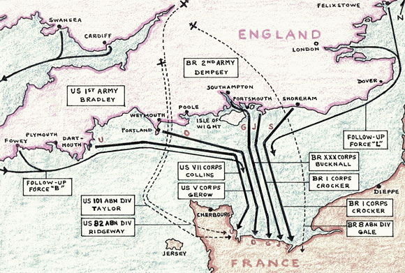 Map of Operation Overlord
