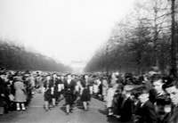 Women parade in the Mall, London, England